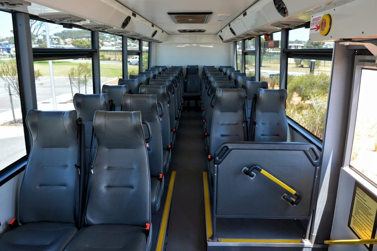 Inside a 34 seat Isuzu coach