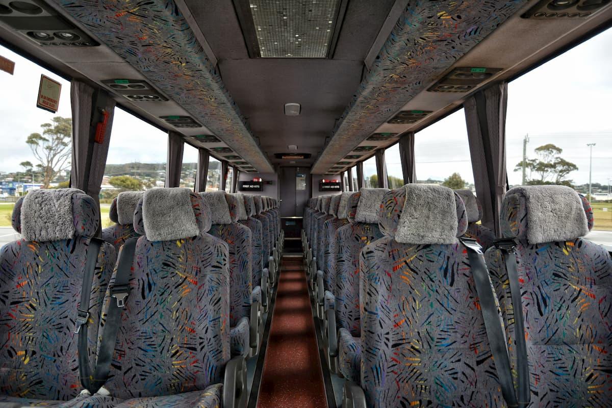 Inside a 38 seat Volvo coach