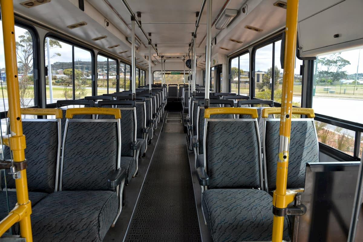Inside a 45 seat Mercedes coach