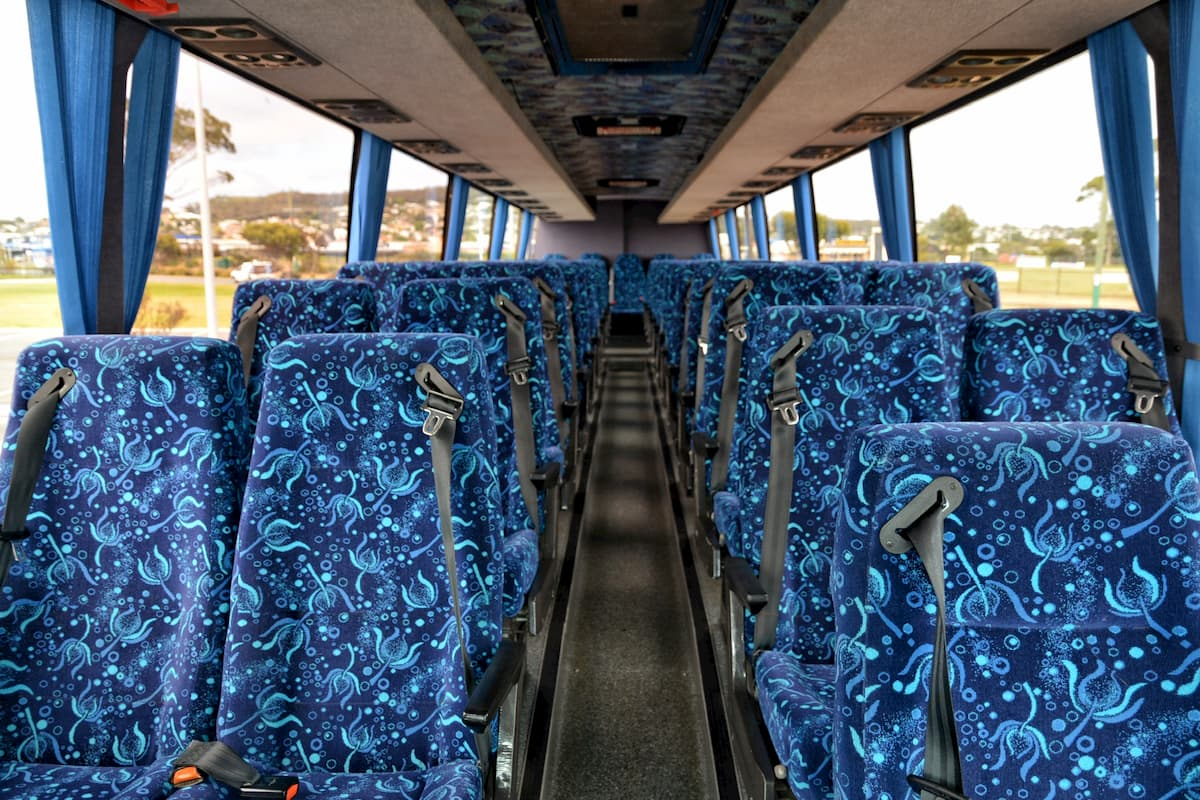 Inside a 57 seat Iveco coach