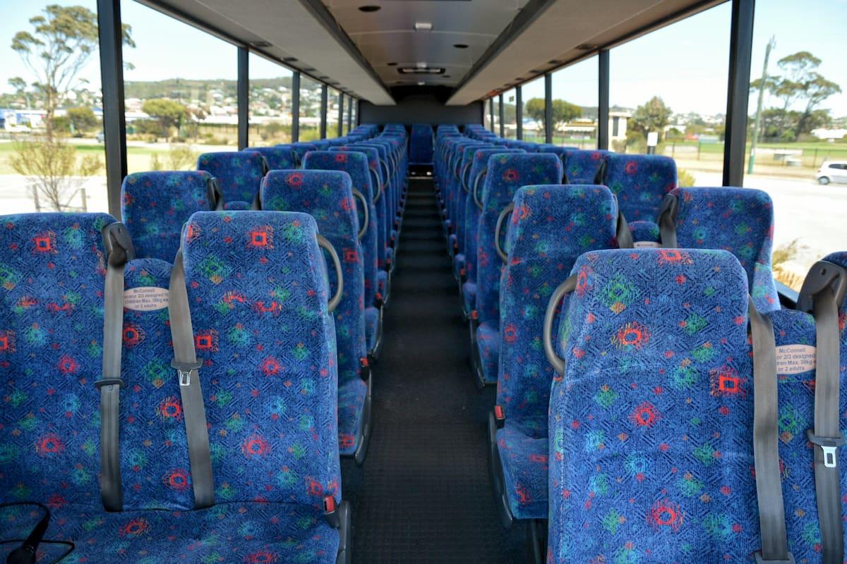 Inside a 57 seat Volvo coach