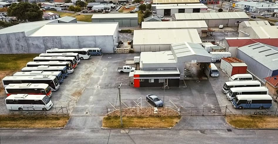The Southern Bus Charters depot from the air.
